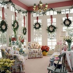 Christmas House Decorations - Stepheny adds: Never mind this lovely interior, but the room itself is what we all need. Windows, light, space....dressed for Christmas makes it perfect.