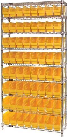 "Quantum Storage Systems WR9-201YL 9-Tier Complete Wire Shelving System with 64 QSB201 Yellow Store-More Bins, Chrome Finish, 12"" Width x 36"" Length x 74"" Height by Quantum. $507.87. Genuine Quantum modular wire systems offer a unique combination of shelf and post sizes in a variety of finishes to compliment any application. The split sleeve and grooved numbered posts allow for easy and quick assembly. The all welded shelf construction is supported with architectural wir..."