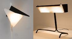 Jean Boris Lacroix, applique 302, édition Luminalite, 1957 et Jacques Biny, lampe 231, édition Luminalite, 1957.