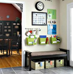 Great ideas for creating a command center of your own. {[Combine entryway seating/bookshelf/organisation area idea with command center. Back To School Organization, Organization Station, Home Organisation, Entryway Organization, Organization Hacks, Organizing School, Organized Entryway, Organizing Ideas, Entryway Ideas