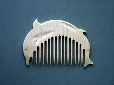 Wooden Comb Dolphin Hand Carved Natural. by ArtGiftStoreEcoToys