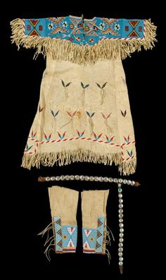 AMERICAN FURNITURE, FOLK & DECORATIVE ARTS - SALE 1476 - LOT 17 - Child's Sioux beaded hide dress, leggings and concho belt.