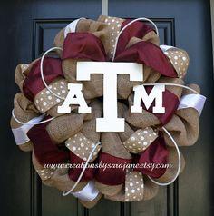 Texas A Burlap Wreath by CreationsbySaraJane at www.creationsbysarajane.etsy.com