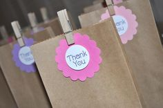 12 Birthday Favor Tags  Thank You  Flower and by sosweetpartyshop, $12.00
