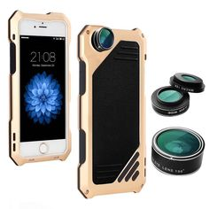 KOBWA iPhone 6 Plus /6s Plus Lens Kit, 3 in 1 Fisheye + Macro + Wide Angle Camera Lens with IP54 Dustproof Shockproof Aluminum Case for iPhone 6/6s Plus,5.5 Inches. Without professional equipment, you can also shoot delicate photos. Well-made detachable 198° Ultra-Wide Fish Eye Lens + 0.63X Wide Angle Lens + 15X Micro Lens, support from Stunning Fish-Eye world image to extreme Close-Up High-Precision detail. The Wide angle lens can get up to 20% more in every shot. IP54 metal case (100g)...