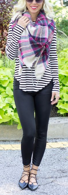 """55"""" x 55"""" Acrylic Scarf. Shown paired with Black Striped Casual Top Shown paired…"""