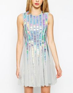 ASOS | ASOS Holographic Sequin Strip Dress at ASOS