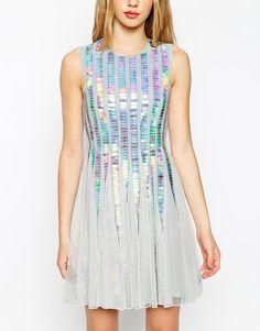 ASOS   ASOS Holographic Sequin Strip Dress at ASOS