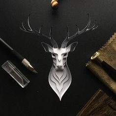 Deer paper cut #papercut #craft #paper #animal #deer
