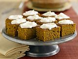 Pumpkin cake bars- I make mine using a jelly roll pan. I also substitute in whole wheat flour,  egg beaters for eggs and apple sauce for oil!