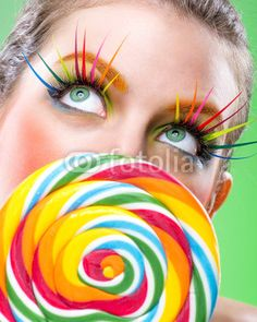 Extremely beauty colorful lollipop, comes with matching makeup© Zsolnai Gergely