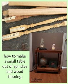 How to make a table from scrap flooring and spindles