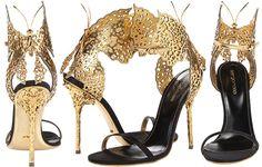 603a24c9fa Sergio Rossi Filigree Nero Ciad New Gold Leather Chromium Plated - Zappos  Couture