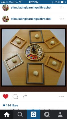 Play dough in picture frame with loose parts as a provocation - from Stimulating learning with Rachel Instagram (no link)