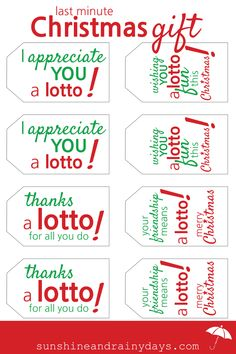Looking for a last minute Christmas Gift idea? How about a lottery ticket with a fun Lotto Gift Tag? #giftideas #lottogifttag #lotto via @Sunshine and Rainy Days