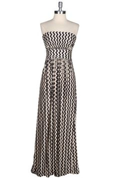 Shape Up & Ship Out Chevron Maxi Dress - Black + Ivory. Great for pregnant bellies!