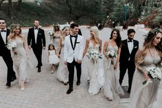 When Orange County social media influencer tied the knot at Rancho Las Lomas, her fiance wore a white tuxedo from while the groomsmen wore black tuxedos, also from Friar Tux and the bridesmaids wore beige gowns, check out the romantic wedding details! Taupe Bridesmaid Dresses, Wedding Dresses, Tuxedo Accessories, White Tuxedo, Groom Wear, Illusion Neckline, Designer Gowns, Wedding Designs, Wedding Ideas