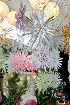 paper snowflakes made from scrapbook paper and glitter, all in white please!!!