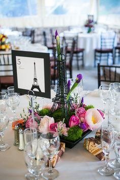 Paris themed wedding ideas with eiffel tower design from hotref amazing paris theme table centerpiece view the full wedding here http junglespirit Image collections