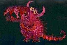 Kinderen zelf een monster laten bedenken en tekenen, eventueel met emotie.