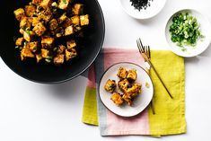 Crispy oven baked honey garlic tofu bites that come together quickly and easily. They're sweet, savoury and crisp on the outside, and creamy on the inside.