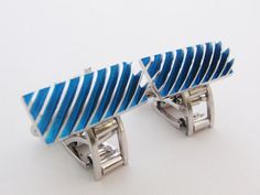 Gents Stainless Steel /& Blue Textured Leather Cuff Links