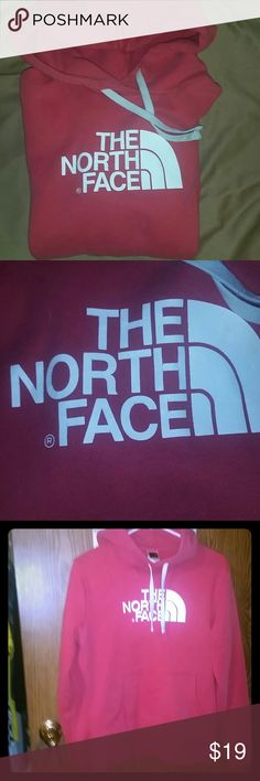 Women's Large North Face Hoodie Still in good condition,  does have some cracking of the letters as shown in the above picture.  Coral colored- The  North Face Hoodie Women's Large.  One  almost unnoticeable tiny stain on the shoulder at the top of the sleeve.  Does have some piling but it's very minimal!  The hoodie strings have a few stray threads, and small amount of discoloration, but u have to look really close!  I'm just disclosing everything! The North Face Sweaters