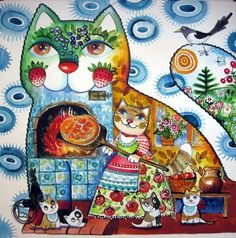 Cats by Patricia Art Fantaisiste, Gatos Cats, Photo Chat, Cat Quilt, Fantasy Paintings, Cat Cards, Cat Colors, Watercolor Animals, Cat Drawing