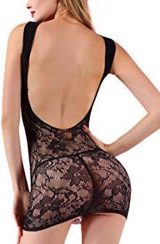 de7c6442a Amazon.com  FasiCat Women s Mesh Lingerie Fishnet Babydoll Mini Dress Free  Size Bodysuit (