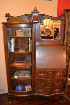 Antique Stickley Era Side by Side Bookshelf Secretary