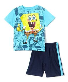 Look what I found on #zulily! Children's Apparel Network Turquoise SpongeBob Tee & Navy Shorts - Toddler & Boys by Children's Apparel Network #zulilyfinds