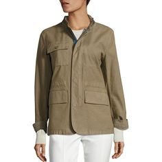 Tory Burch Women's Lara Applique Army Jacket ($415) ❤ liked on Polyvore featuring outerwear, jackets, apparel & accessories, dry sage, army jackets, field jacket, tory burch jacket, zip front jacket and tory burch