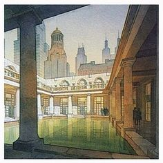 aquae sulis by Thomas W. Schaller Watercolor ~ 15 inches x 15 inches