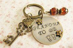 Grandma To Be keychain, handstamped, by romanticcrafts