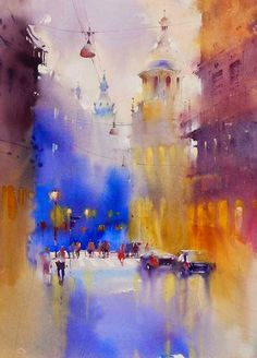 Kai Fine Art is an art website, shows painting and illustration works all over the world. Watercolor City, Watercolor Sketch, Watercolor Artists, Watercolor Landscape, Watercolor Illustration, Watercolor Paintings, Watercolors, Watercolor Architecture, Art And Architecture