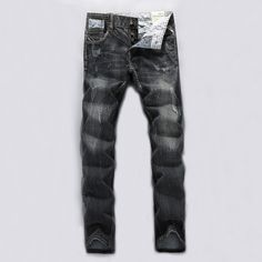 >> Click to Buy << Black Gray Color Classic Men Jeans High Quality Denim Stripe Ripped Jeans Mens Pants Slim Fit Buttons Brand Stretch Biker Jeans #Affiliate
