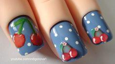 Retro Cherries & Polka Dots - Fimo Nail Art Tutorial on Short Nails
