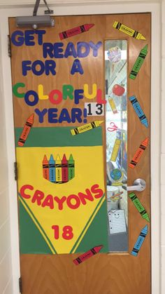 Love my door decoration!!! Second grade door. Crayon door.