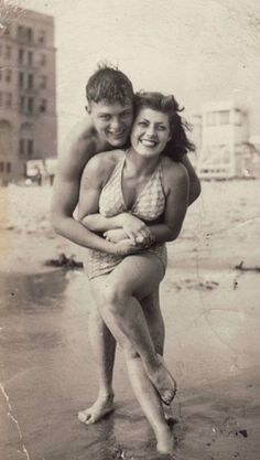 Vintage couple at the beach
