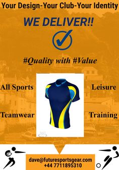 We deliver!! Your needs 100% satisfied! #Guaranteed #Teamwear #Training #Leisure All quality/value-Take your club to the next level #Future