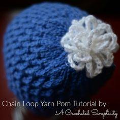 DIY Chain Loop Yarn Pom Tutorial by A Crocheted Simplicity