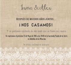 invitacion de boda con encajes imprimible #boda #wedding #imprimible #printable // lace and burlap wedding invitation                                                                                                                                                      Más