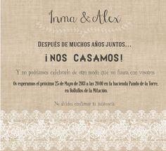 invitacion de boda con encajes imprimible #boda #wedding #imprimible #printable // lace and burlap wedding invitation