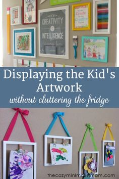 Displaying the Kid's Artwork Without Cluttering the Fridge. The kids bring home so many masterpieces that I my fridge was totally covered! With these fun and easy displays, I can see the fridge again.