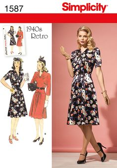 fe31a257c3c911 Simplicity 1587 Misses    miss petite vintage dress with short or length  sleeves   gathered V-neck with bow or button detailing.Features a yoke at  the waist ...