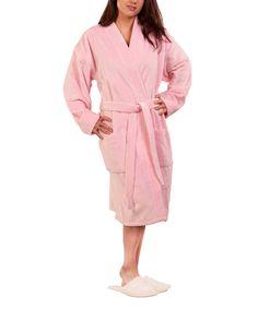 White Terry Velour Kimono Bathrobe - Adult