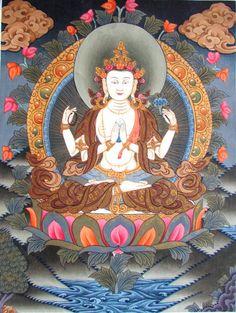 Tibetan Thangka Orginal Painting- Chyangrashi Buddha #Asian