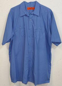 New Red Kap Mens Blue Striped Short Sleeve Button Down Pocket Shirt XXL NWOT #RedKap #ButtonFront