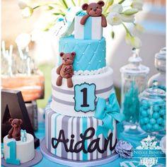 First Birthday Cake 1st Bday Baby Boy Cakes Shower Teddy