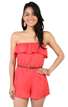 Deb Shops #coral strapless ruffle #romper with braided belt